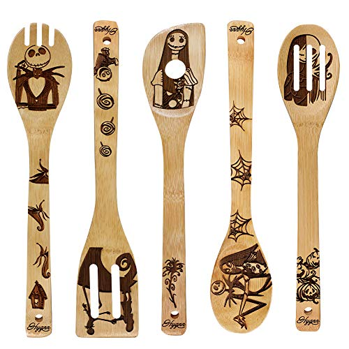 Unique Pattern Burned Wooden Spoons Nightmare Kitchen Slotted Spoon House Warming Presents Bamboo Utensil Set(5 Pieces) (Gifts Before Christmas Nightmare The)