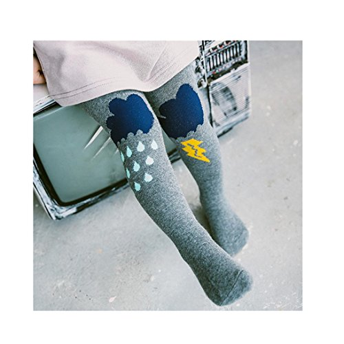 Highpot Boy Girl Cute Ray Rain Elastic Soft Pantyhose Comfortable Cotton Tights (L(2-3T), Gray)
