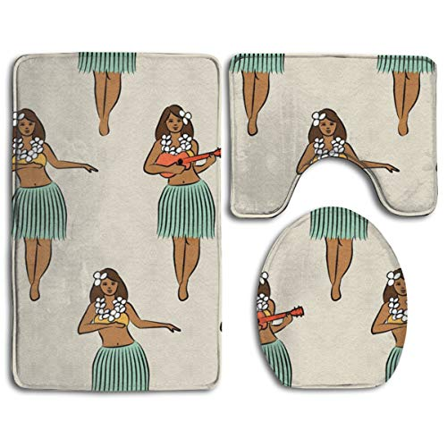 (Bath Mats 3 Piece - Memory Foam Bathroom Carpet-Water Absorbent Contour Mat and Lid Cover - Anti-Skid, Machine-Washable Quick Dry Hawaiian Hula Girl Rug Mat)