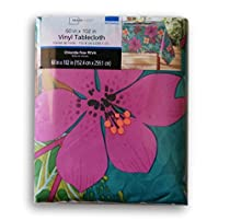Summer Tropical Flowers Rectangular Vinyl Tablecloth (60 x 102)