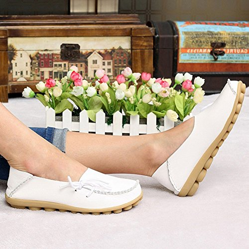 Scarpe Stringate Casual In Pelle Moda Yixinan Per Donna Bianca