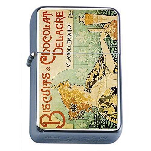 Silver Flip Top Oil Lighter Vintage Poster D-055 Biscuits & Chocolat Delacre