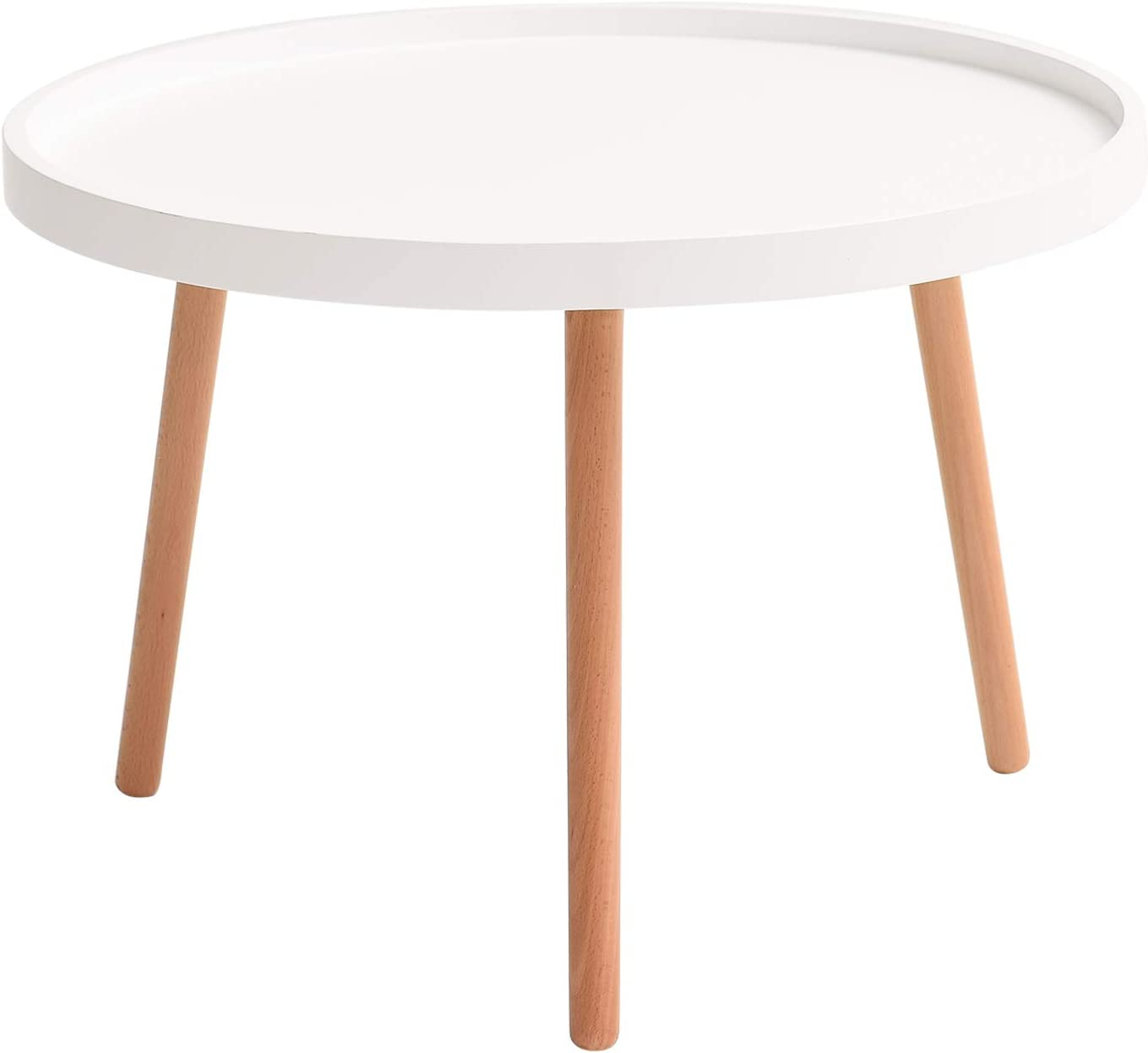 IBUYKE Coffee Table, MDF Panels and Beech Legs End Tables, Modern Furniture Decor Round Side Table for Living Room Balcony Home and Office, Large : Φ 28.15, White, URF-991