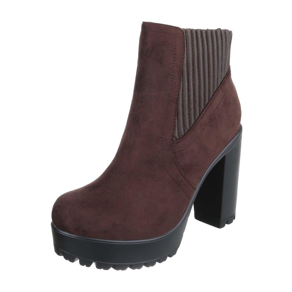 Ital-Design High Heel Stiefeletten Damenschuhe Schlupfstiefel Pump High Heels Reißverschluss Stiefeletten  39 EU|Dunkelbraun