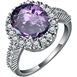 Natural Amethyst Sapphire 925 Silver Wedding Bridal Engagement Ring Size 7-9#by pimchanok shop (7, Amethyst)