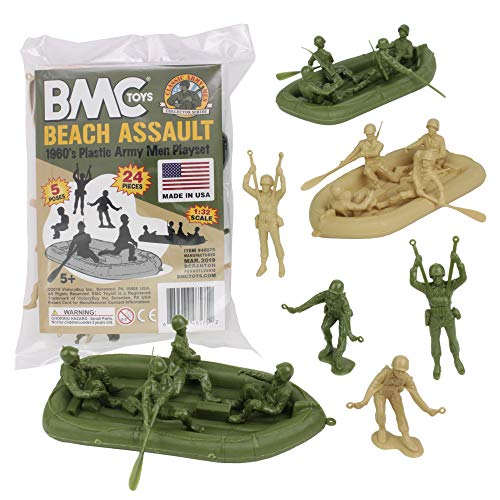 BMC Marx Plastic Army Men Beach Assault - Green vs Tan 24pc WW2 US Soldiers - Made in ()