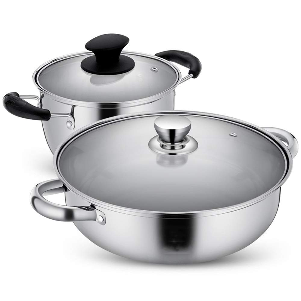 HHFZH Cookware Set, 2-Piece Stainless Steel Pot & Pan Sets, Induction Safe, Saucepan, Casserole with Glass Lid