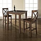 Crosley 3-Piece Pub Dining Set with Cabriole Leg and X-Back Stools, Vintage Mahogany Finish