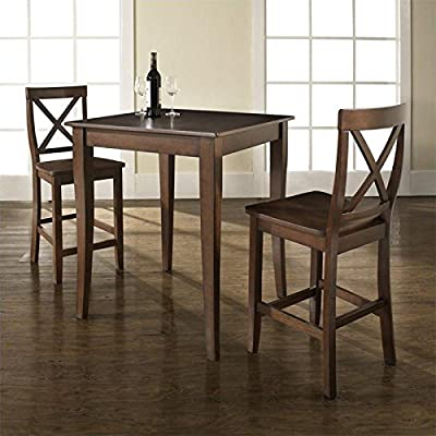 """Crosley 3-Piece Pub Dining Set with Cabriole Leg and X-Back Stools, Vintage Mahogany Finish - Table Dimensions: 36""""H x 32""""W x 32""""D Stool Dimensions: 40""""H x 18.5""""W x 22.5""""D 24"""" Stool Seat Height - kitchen-dining-room-furniture, kitchen-dining-room, dining-sets - 51l85eQncxL. SS400  -"""