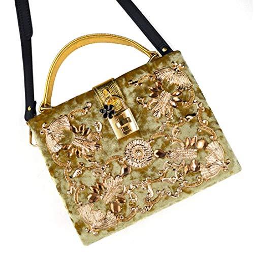 Bolsa de la la Hombro Diamante Embrague de de Gold Mensajero Mujer Bolso Bolso de WEATLY Franela Hombro de y Bolso del del de la del qBf1xg