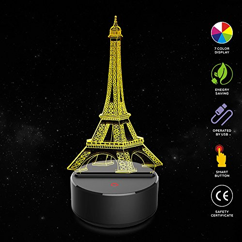 - Eiffel Tower Lamp 3D Night Light,Optical Illusion Night Lamps 7 Colors Changing,Touch Button USB Charged Amazing Creative Designed LED Table Desk Lamps