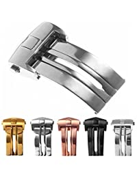 StrapsCo Stainless Steel Deployment Clasp Watch Band Strap Buckle for TAG Heuer