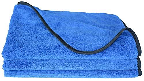 Sinland Microfiber Car Cleaning Cloths Plush Car Waxing Polishing Towels Car Wash Cloths 3-Pack 16Inch X 24Inch Blue 380gsm