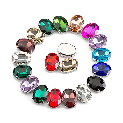 - 50 Pcs Sew On Rhinestone Crystal Rhinestones Oval in Silver Color Prong Setting Glass Made (Mixed Color, 10 X14 MM)