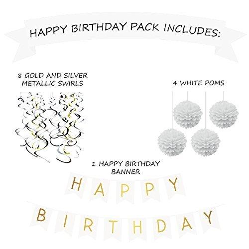 Forniture per Feste del 21/° Pompon /& Vortici Decorazioni di Compleanno 30/° Confezione Festa di Compleanno Striscione di Buon Compleanno Bianco e Oro 50/° Compleanno 40/° Sterling James Co