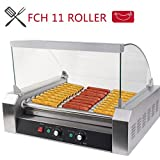 FCH 11 Roller 30 Pcs Hot-dog Maker Grill Cooker Machine Stainless Steel Hot Dog Machine Commercial Cover Silver