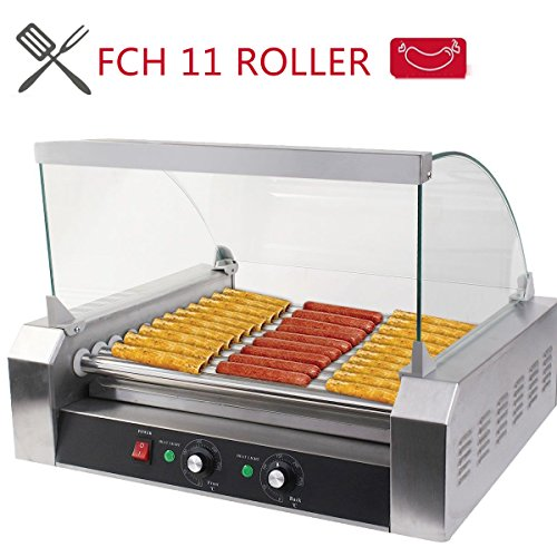 Lowest Price! FCH 11 Roller 30 Pcs Hot-dog Maker Grill Cooker Machine Stainless Steel Hot Dog Machin...