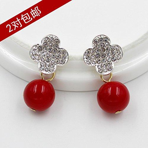 Korean metal inlay diamond clover pearl pendant collar blouse collar pin brooch small decorative