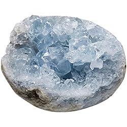 mookaitedecor Natural Celestite Mineral Crystal Geode Cluster Specimen Stone for Crystals Healing Reiki Home Decoration(0.3lb-0.4lb)