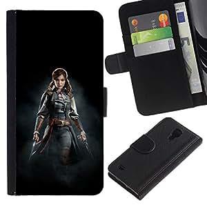 NEECELL GIFT forCITY // Billetera de cuero Caso Cubierta de protección Carcasa / Leather Wallet Case for Samsung Galaxy S4 IV I9500 // ASESINOS mujer pirata