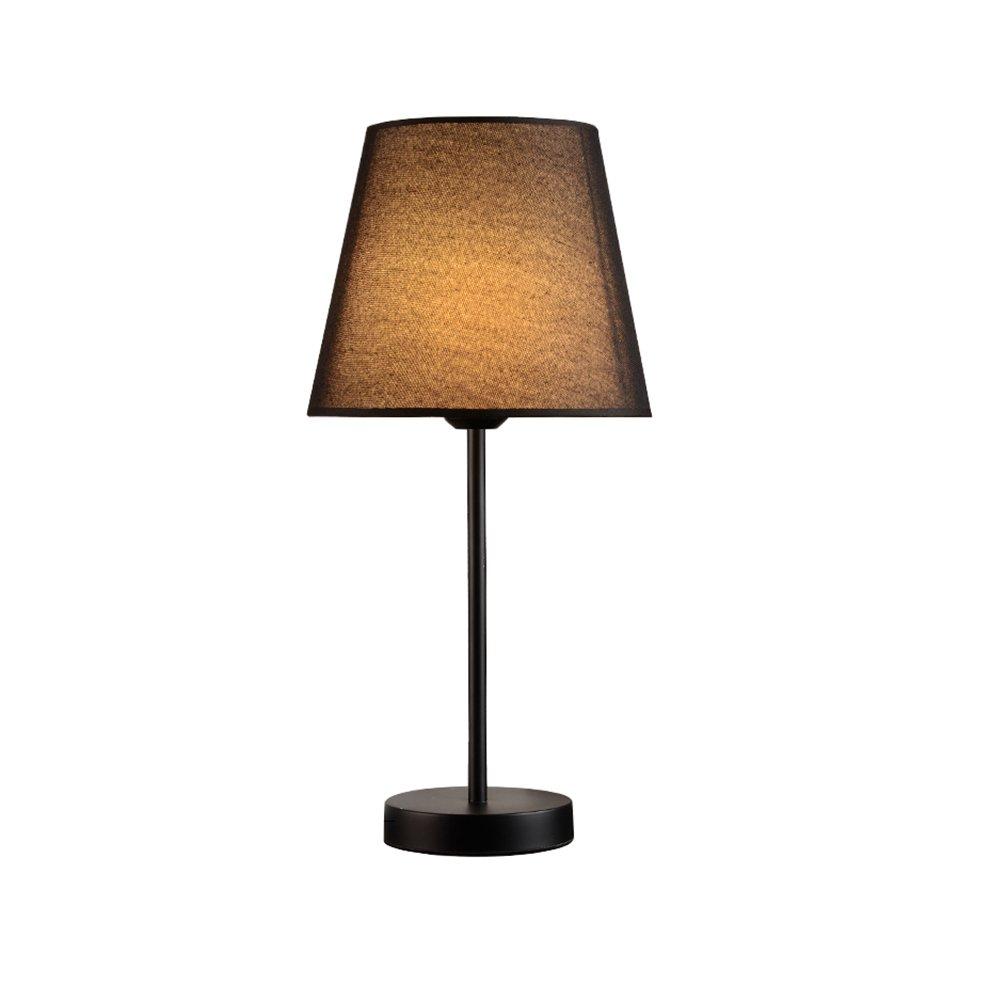 GUIHONG HOME® Moderne minimalistische Tischlampe, Massivholz Qualität Nachttischlampe Schlafzimmer Hochzeit Knopfschalter E27  1 Nordische Kreativität (Farbe   schwarz)