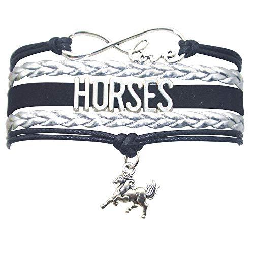 HHHbeauty Horse Bracelet Leather Infinity Girls Horse Charm Bracelet Friendship Gift for Women,Grils,Men Includig Infinity Love Charm, Letter, Horse Charm (Black and - Horse Letter