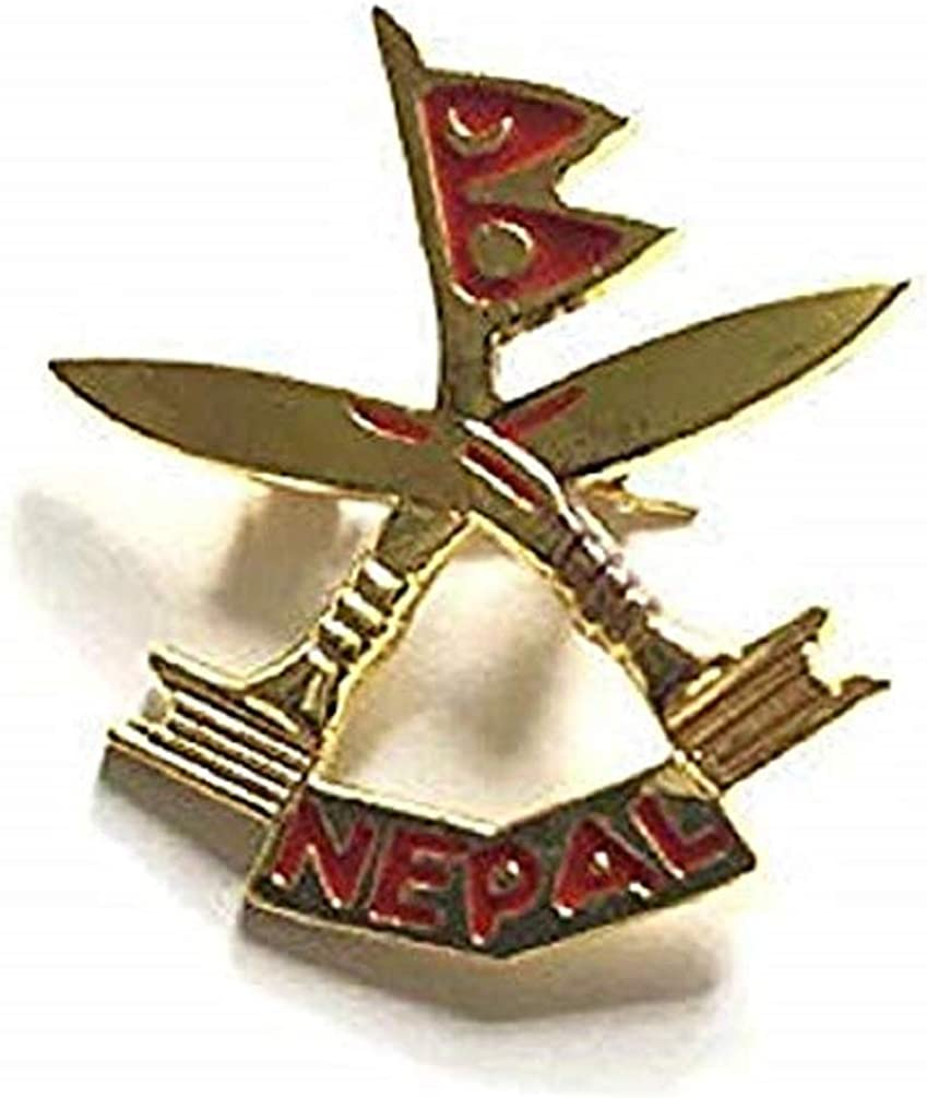 Nepal Country Flag  And Khukuri Cross Metal lapel PIN BADGE ..NEW 2 Pcs