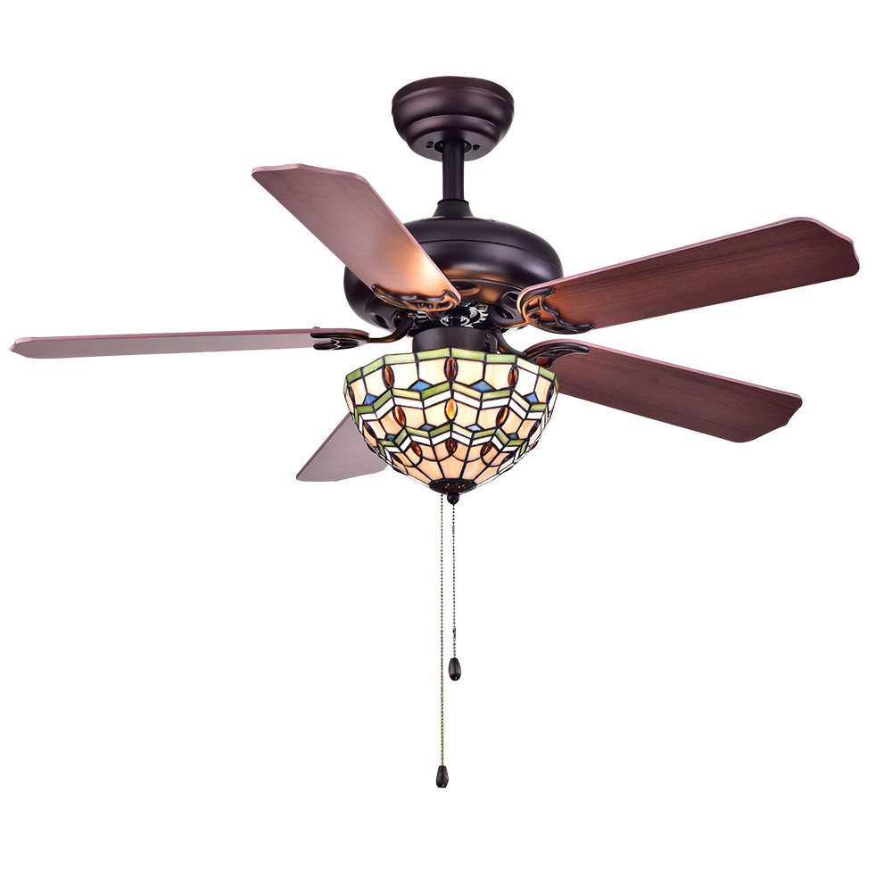 Warehouse of Tiffany CFL-8169BL Doretta Tiffany Bowl 3-Light 42 inch Ceiling Fan by Warehouse of Tiffany