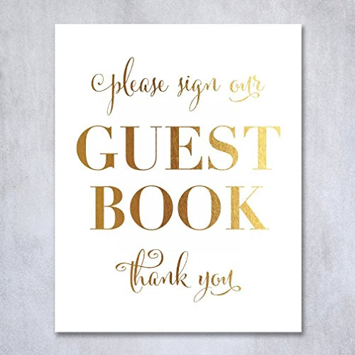 Guest Book Gold Foil Poster Sign Art Print Wedding Reception Seating Signage Bridal Shower Brunch & Bubbly Poster Decor 8 inches x 10 inches (Groom Wedding Confetti)
