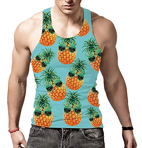 Mens Lasting Colors Neon Tank Tops Yellow Pinapple Regular-Fit Compression Decent Singlet for Rave Party Hip-Hop(Sunglasses ()
