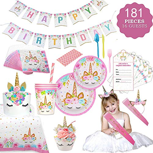 GONGYIHONG Unicorn Birthday Party Supplies Set, Serves 16, Colorful ()