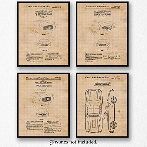 - Original Mercedes SL + Grille Patent Art Poster Prints- Set of 4 (Four 8x10) Unframed Photos- Great Wall Art Decor Gifts Under $20 for Home, Office, Garage, Man Cave, Shop, Student, Cars & Coffee Fan