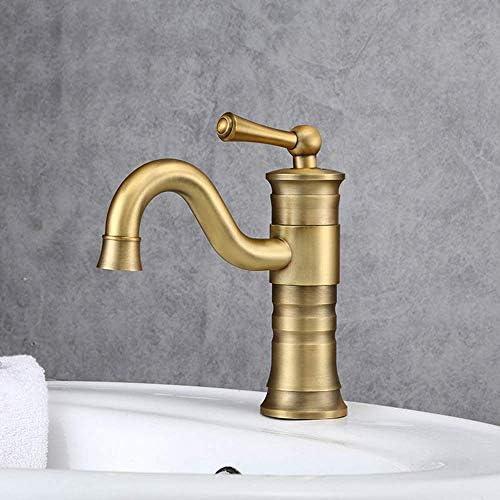 Yadianna 流域の蛇口真鍮メタルキッチンシングルコールドシンクの蛇口のシンクの蛇口の浴室の洗面台の蛇口の高曲面バルコニー蛇口ゴールド浴室用タップ