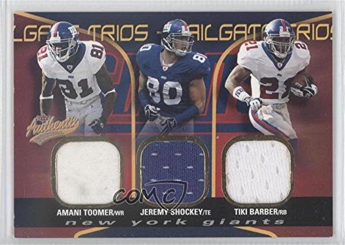 (Amani Toomer; Jeremy Shockey; Tiki Barber #23/75 (Football Card) 2004 Fleer Authentix - Tailgate Trios Jerseys)
