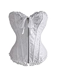 U-Pretty Women's Lace Up Boned Brocade Overbust Zipper Corset