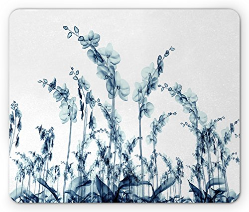 Ambesonne Flower Mouse Pad, X-ray Photo of Group of Wild Orchid Floral Image with Unsual Art Elements Print, Standard Size Rectangle Non-Slip Rubber Mousepad, Teal White