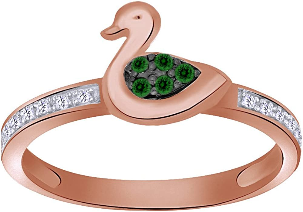 Wishrocks Green & White Natural Diamond Duck Ring in 14K Gold Over Sterling Silver (1/10 Cttw)