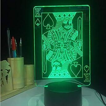 Luz Nocturna Infantil Poker King 3D Lámpara Led Ilusión De Luz ...