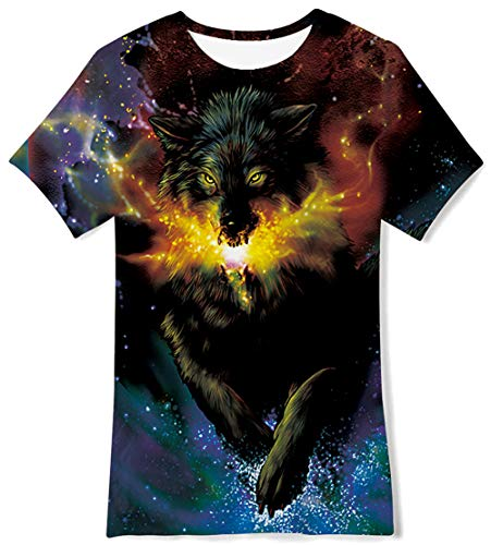 (Kid Boy Crew-Neck Lightweight Extra Cool Galaxy Wolf T-Shirts Teenager Fall Slim Fit Cartooon Design Top Daily Wear Stretchy Bottoming Tee Shirt Apparel,Size 15 )