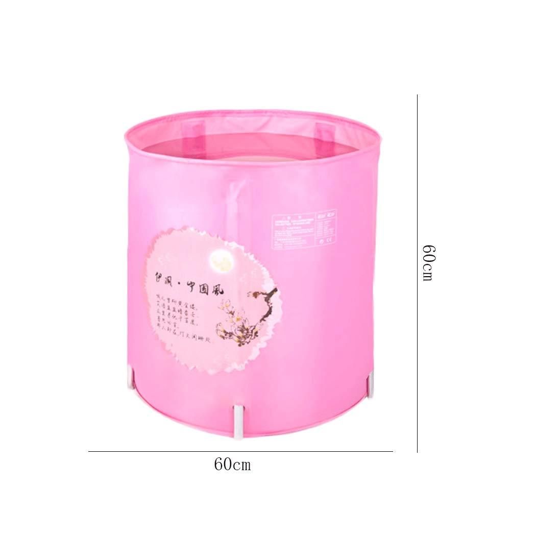 YONGYONG Chinese Style Pink Elegant Bathtub Bath Tub 60 * 60cm (Color : Pink)