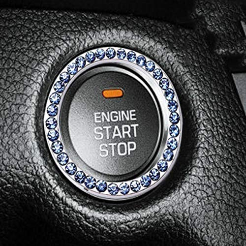 DEALPEAK Car Crystal Rhinestone Ring Auto Engine Start Stop Decorative Ring Car Interior Ring Decal for Car Switch, Button Key, Knobs Decor (Blue)