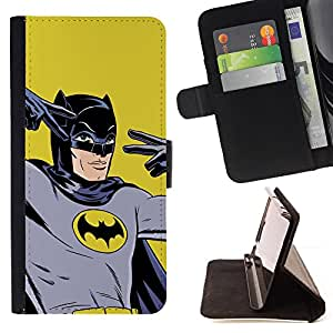 Retro Vintage Bat Superhero - Painting Art Smile Face Style Design PU Leather Flip Stand Case Cover FOR Apple Iphone 6 @ The Smurfs