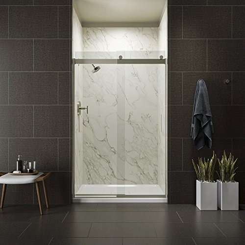 (KOHLER K-706008-L-MX Levity Bypass Shower Door with Handle and 1/4-Inch Crystal Clear Glass in Matte Nickel )
