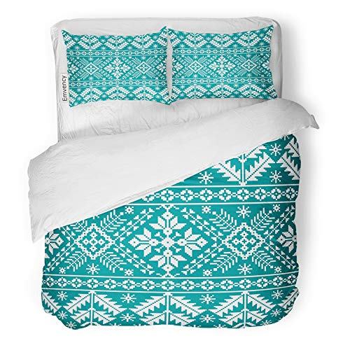 Emvency Decor Duvet Cover Set Twin Size Colorful Christmas of Ukrainian Folk Ethnic Border Pine Russia Old Russian Canvas 3 Piece Brushed Microfiber Fabric Print Bedding Set Cover]()
