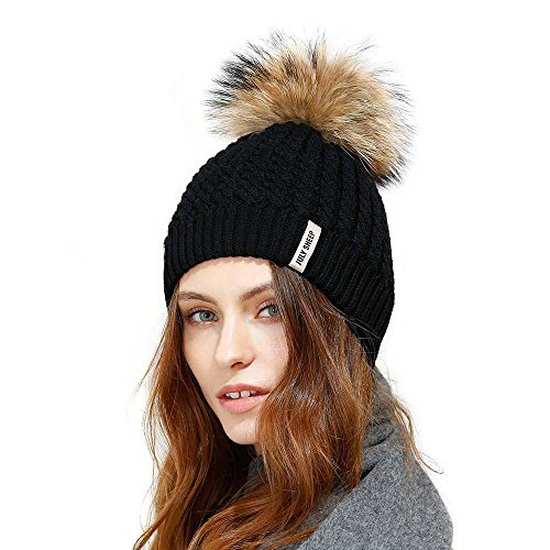 JULY SHEEP Crochet Knit Fur Hat With Real Large fur pompom Beanie Hats Winter Ski cap