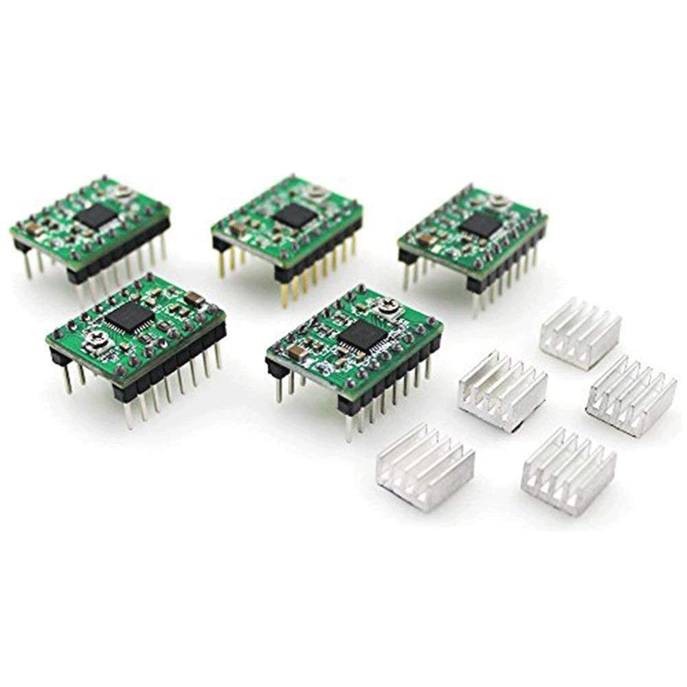ANYCUBIC A4988 Stepper Motor Driver StepStick Compatible Motor Driver Module with Heat Sink (Pack of 5pcs)