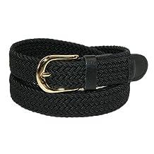 CTM Womens Elastic Braided Stretch Belt, Medium, Black