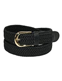 CTM® Women's Elastic Braided Stretch Belt, Medium, Black