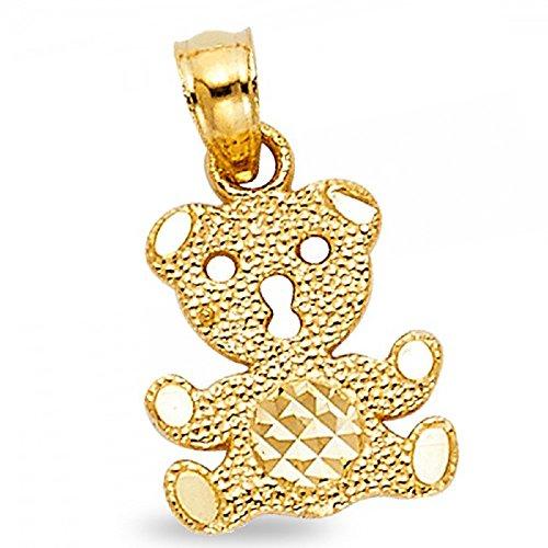 Polished Bear Pendant (Solid 14k Yellow Gold Teddy Bear Pendant Fancy Charm Polished Diamond Cut Genuine 12 x 11 mm)
