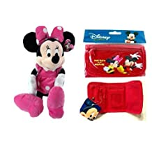 """Gift Special - Disney Minnie Mouse 18"""" Plush Christmas Birthday Gift with Mickey & Minnie Tri-fold Wallet Gift for Holiday, Birthday - Red"""